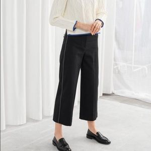 & Other Stories Black High Waist Workwear Trousers